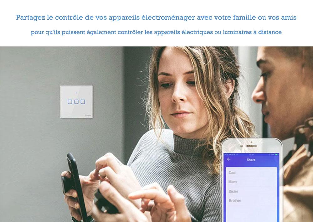 Interrupteur tactile Sonoff programmable, contrôle sur Smartphone et tablette numérique.