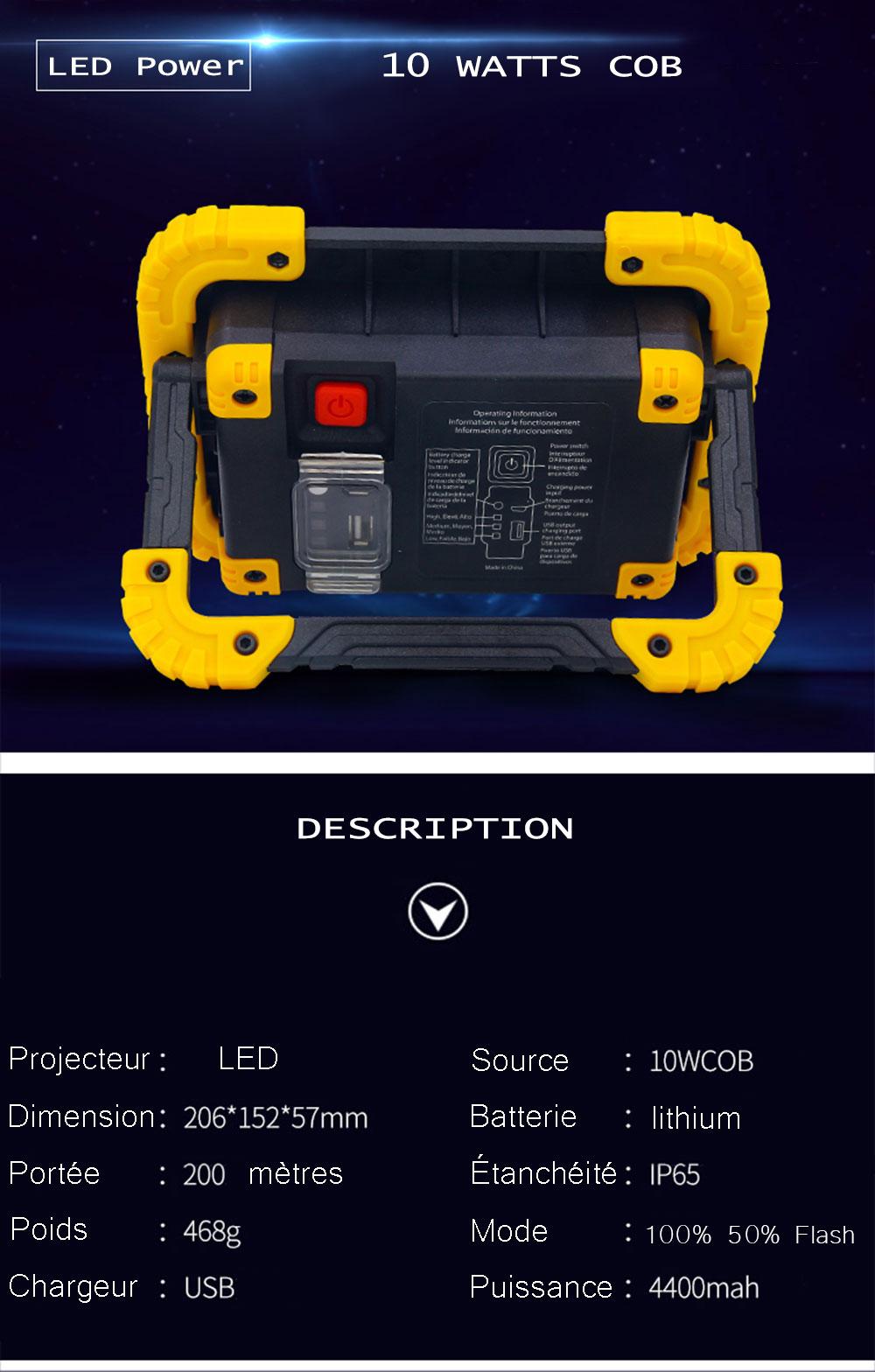 Projecteur LED sur batterie lithium 10 watts COB