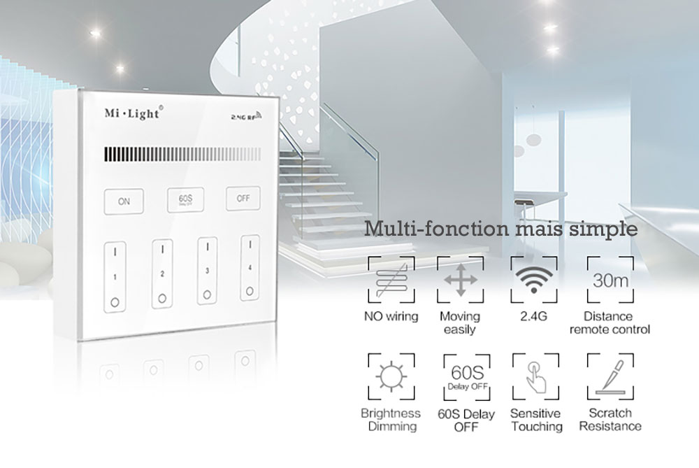 Controleur variateur mural Mi-light B1 tactil
