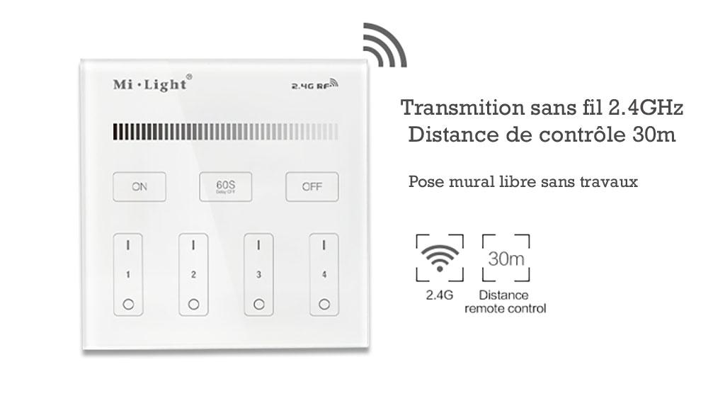 Controleur variateur mural Mi-light B1 pour variateur d'intensité RF 2.4GHz