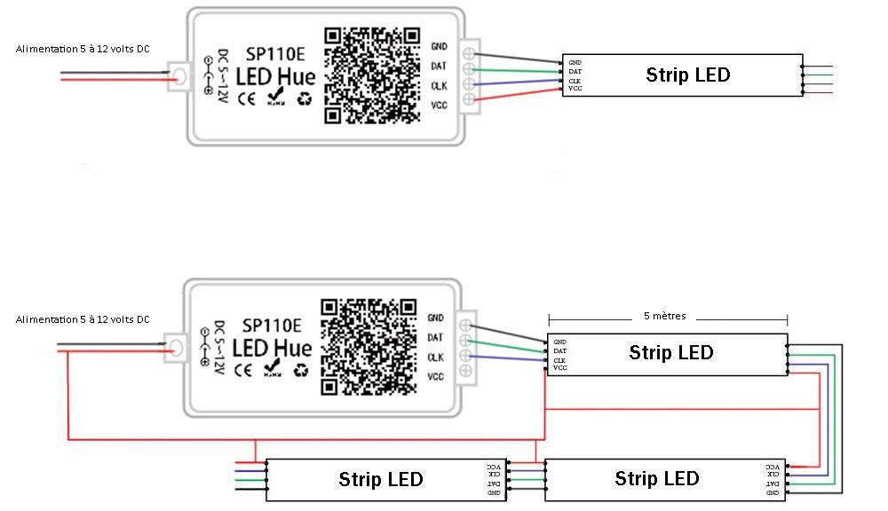 Controleur-telecommande-Mi-light-SP110E-bluetooth-schéma de câblage