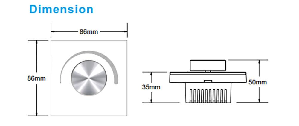 Variateur LED mural avec bouton rotatif Mi-light S1-K dimension