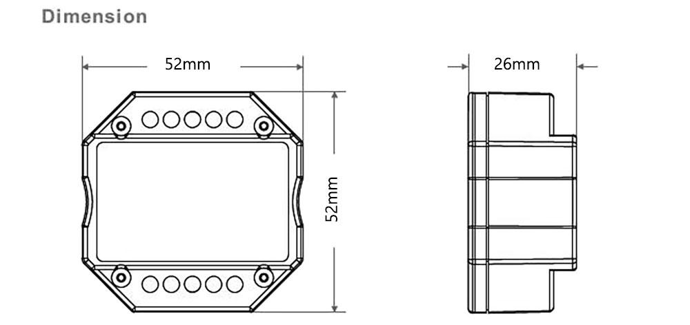 ariateur LED module universel 230 volts pour télecommande RF / Smartphone dimension