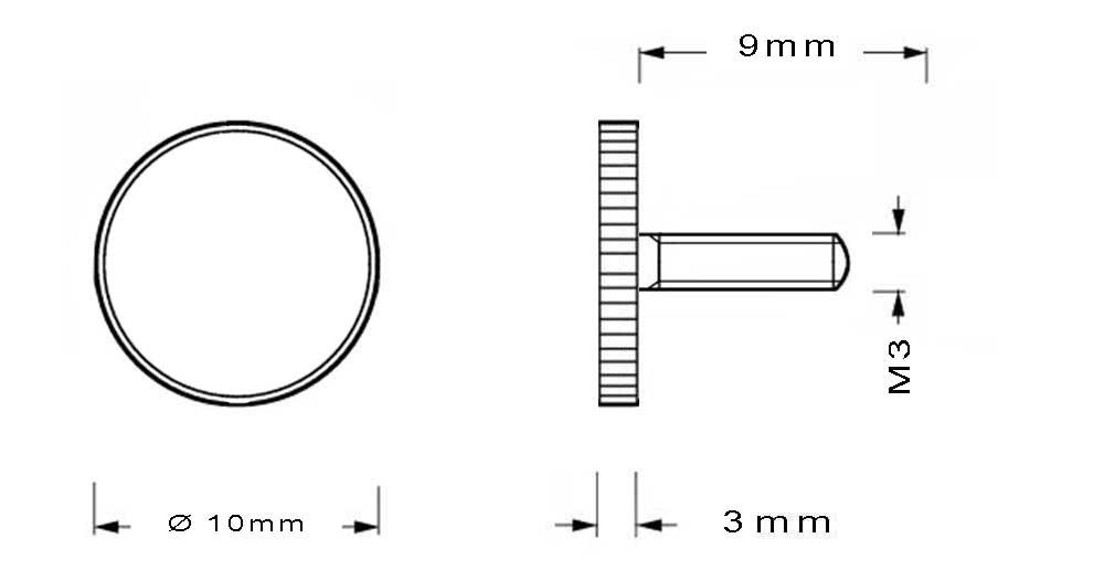 Vis en laiton M3 à tête moletée longueur du filetage 9mm