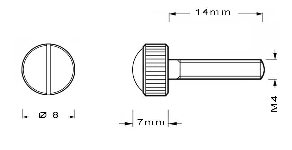 Vis en laiton M4 à tête bombée moletée longueur du filetage 14mm