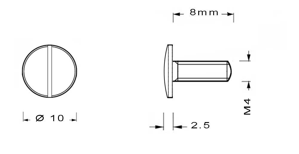 Vis en laiton M4 à tête moletée longueur du filetage 8mm
