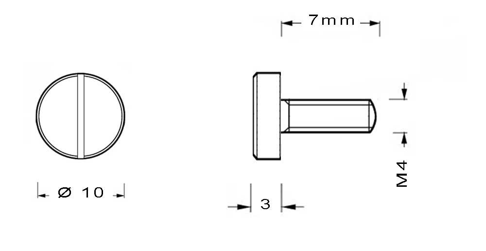 Vis en laiton cylindrique M4 longueur 7mm