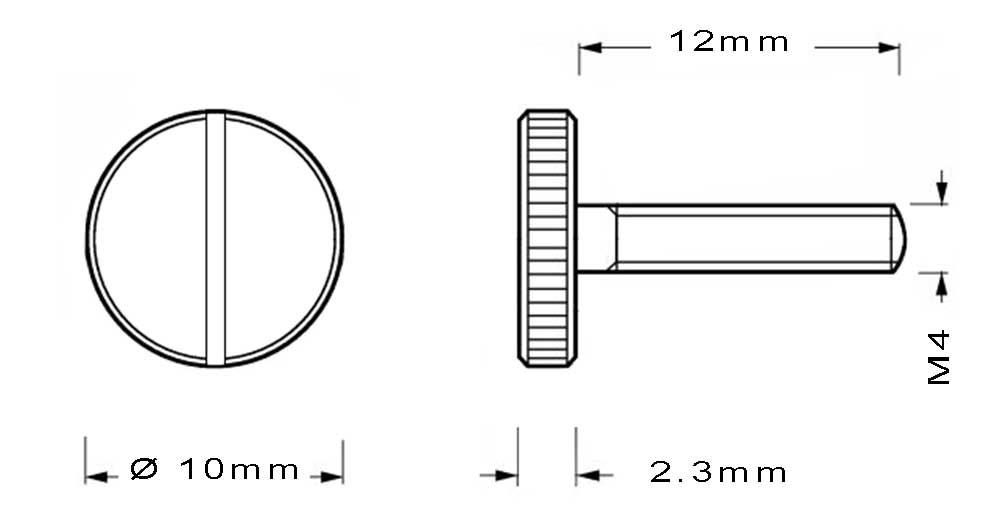 Vis en laiton M4 à tête moletée longueur du filetage 12mm