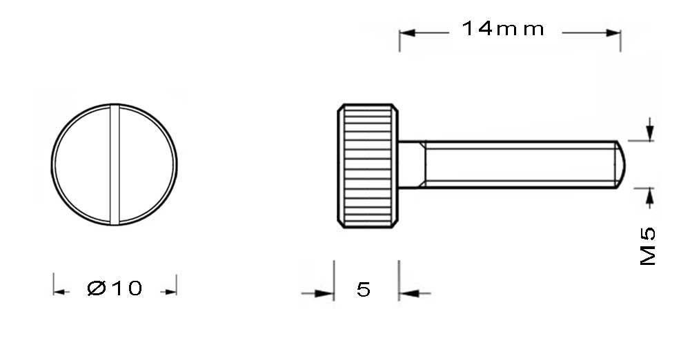 Vis en laiton M5 à tête moletée longueur du filetage 14mm
