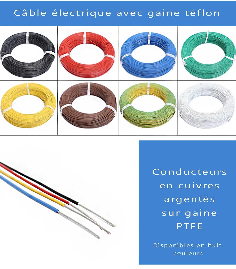 Cable électrique sur gaine téflon AWG