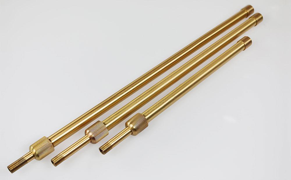 Tube télescopique laiton pour luminaire sur tube fileté M10