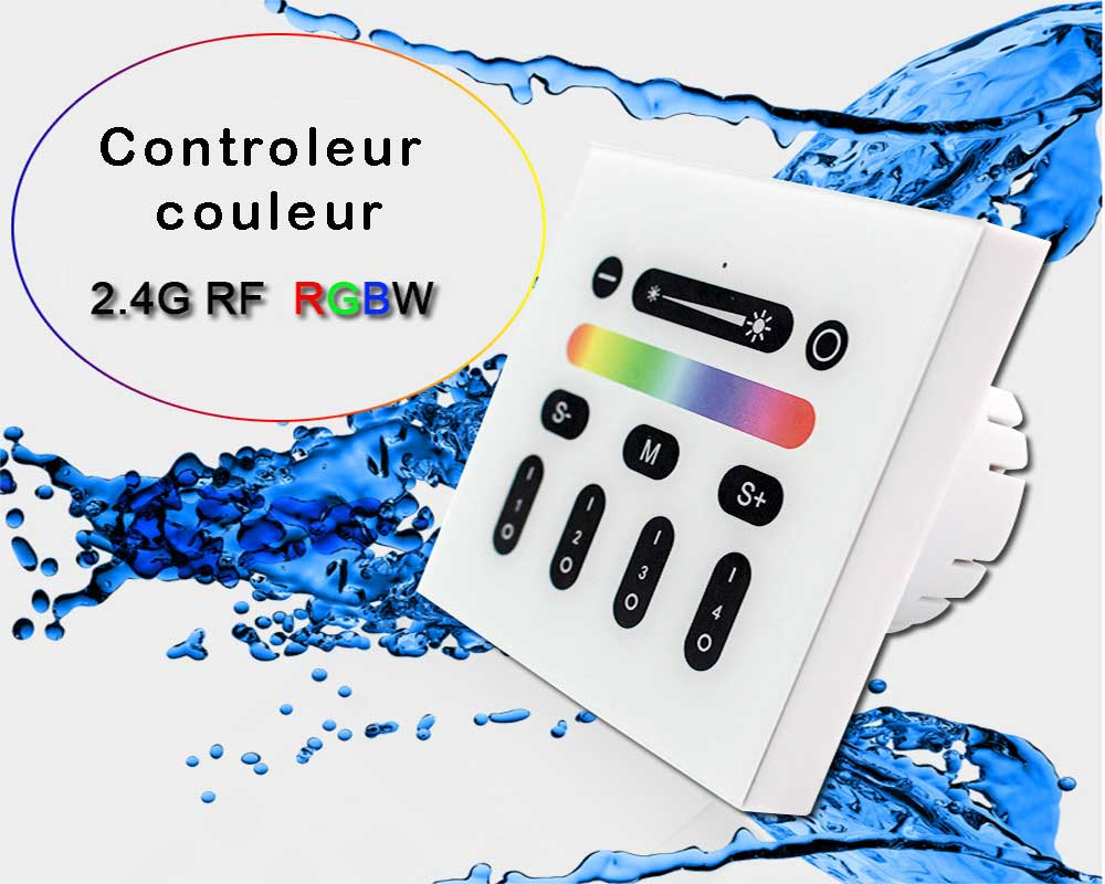 Controleur couleur RGB-W tactile mural avec telecommande quatre zones