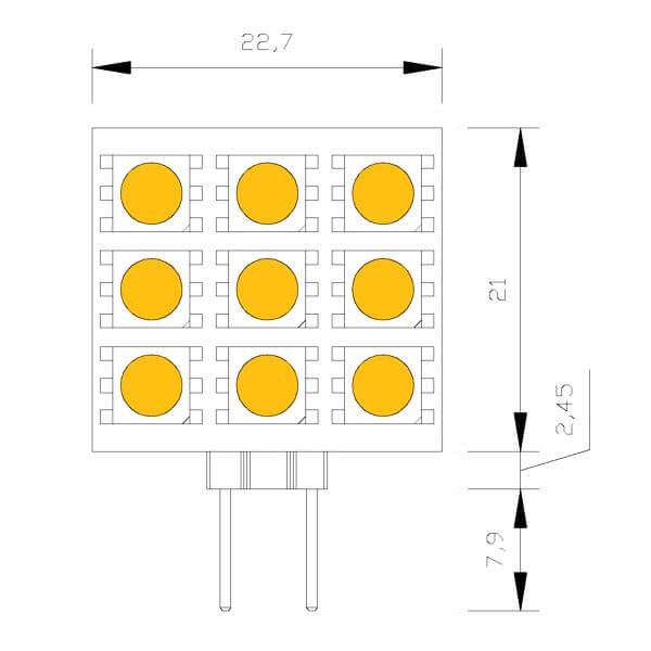 Ampoule 9-leds-smd-carre-10-a-25-volts-culot-g4