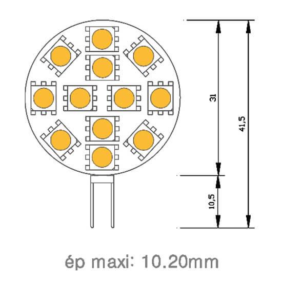 Ampoule 12 led type 5050 smd 12 volts culot g4 - Aerateur salle de bain 12 volts ...